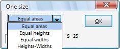 Okno pluginu One size s výběrem možností.