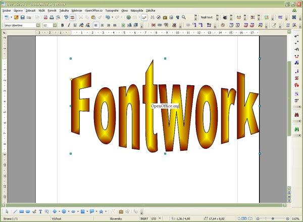 """Úprava textu """"Fontwork"""" na požadovaný text"""