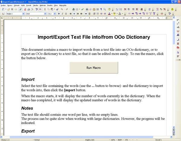 """Import/Export slovníkov – súbor """"ImportExportDictionary1-1.sxw"""""""