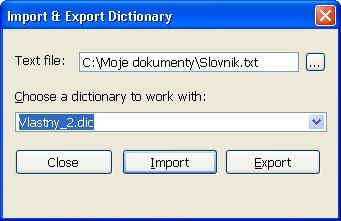Vlastný import/export slovíčiek