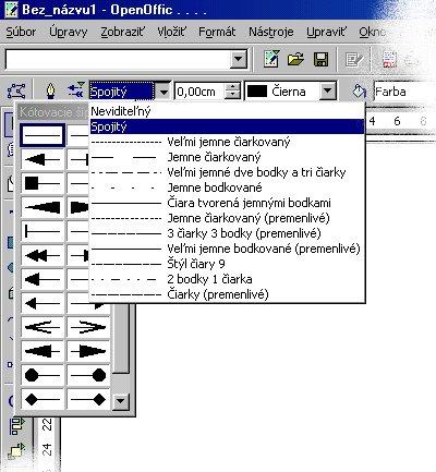 Nastavovanie čiary pomocou panelu objektov