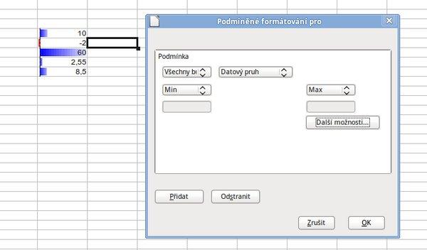 Jeden z výsledků podmíněného formátování – datové pruhy