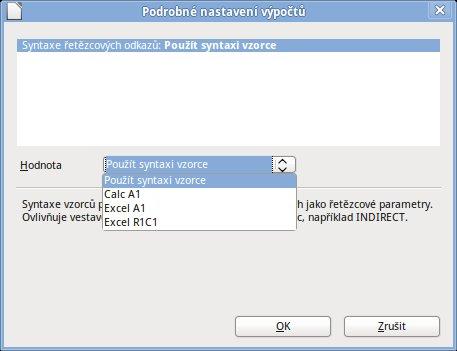 Nyní můžete v nastavení Calcu určit syntaxi použitých vzorců