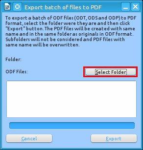 Nejprve je třeba vybrat adresář s ODF soubory