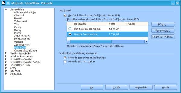 V nové verzi LibreOffice 4.0 se přejmenovala sekce určená pro správu Javy – nyní se jmenuje Pokročilé