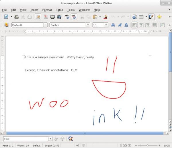 Writer zatím sice neumožňuje vytvářet ručně psané poznámky, ale aspoň má podporu pro jejich import (převzato z webu TDF)