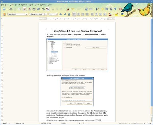 Horní okraj okna je možné přebarvit motivem Personas Firefox (převzato z webu TDF)