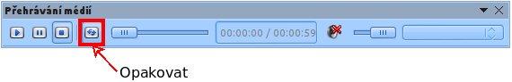 Pomocí tohoto tlačítka zajistíte, že se video bude přehrávat stále dokola