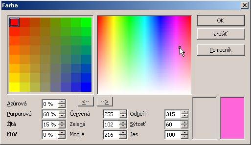 Dialógové okno Farba