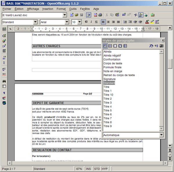 OpenOffice.org 1.1 (program Writer; screenshot François-Dominique, LGPL)