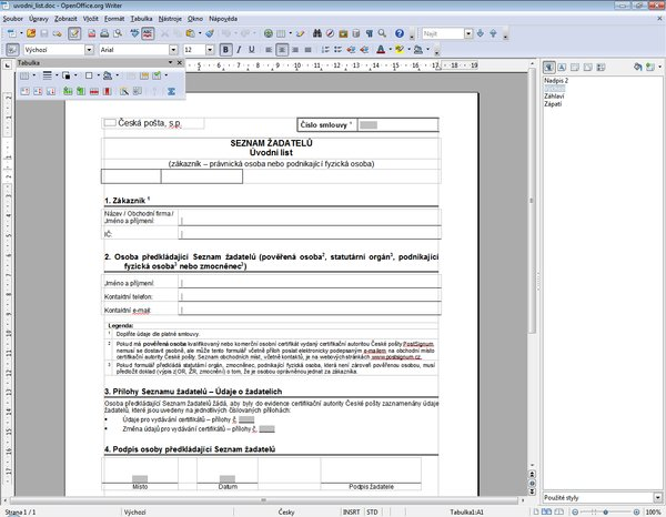 OpenOffice.org 3.4 (program Writer)