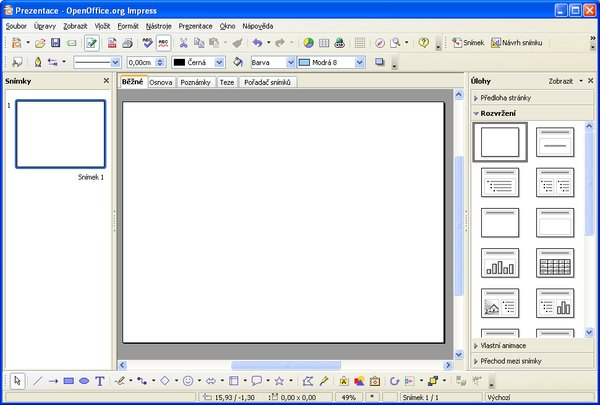 Hlavní okno aplikace Impress