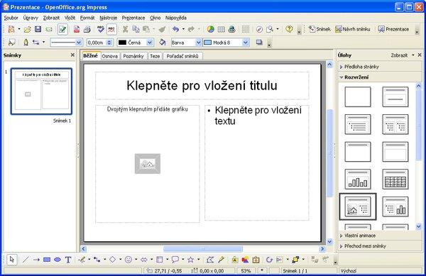 Rozvržení snímku jménem Titulek, obrázek, text
