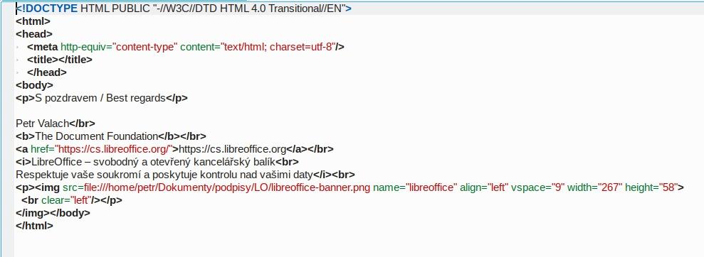 Použitá HTML syntaxe podpisu