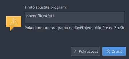 Upozornění při startu OpenOffice