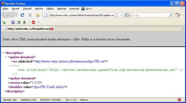 """Obsah súboru """"typoJTB.update.xml"""""""