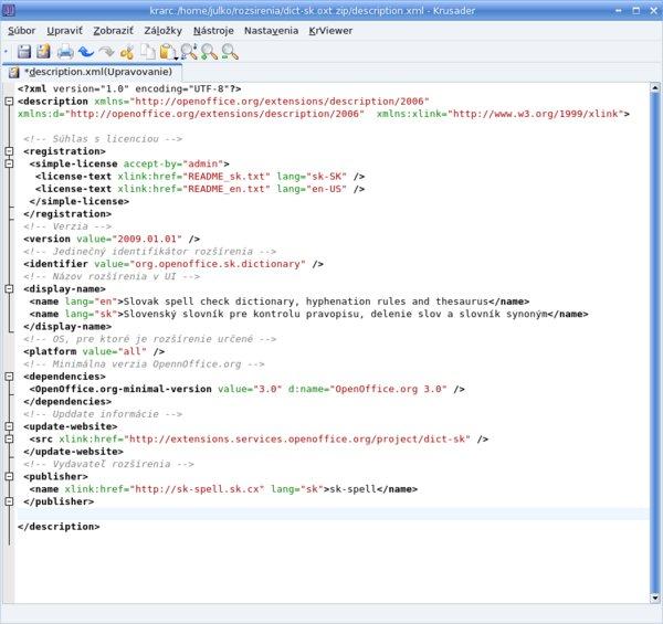 Príklad rozšírenia uloženého na extensions.services.openoffice.org