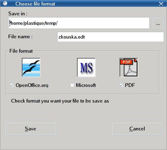 Vybrat formáty pro export