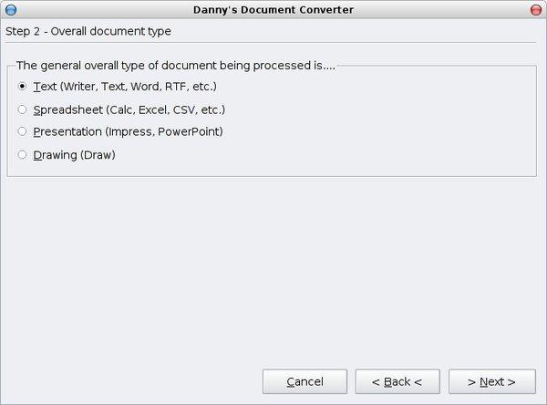 Výběr typu dokumentu