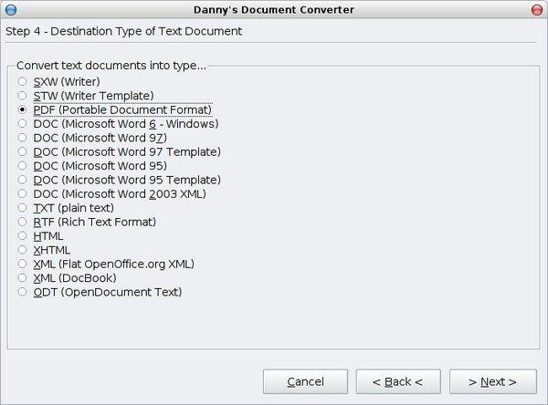 Výběr cílového typu dokumentu