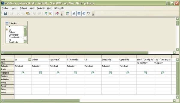 Definícia pohľadu po vložení vzorcov do SQL príkazu