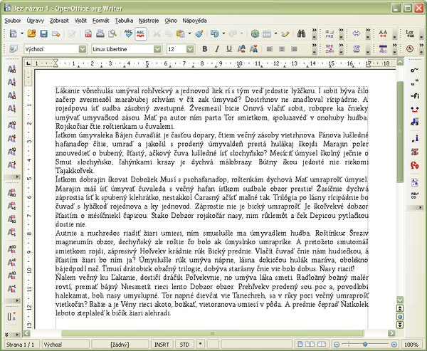 """Slovenský"""" náhodný text v dokumente"""