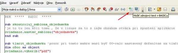 Tlačidlo vložiť zdrojový text BASIC-u