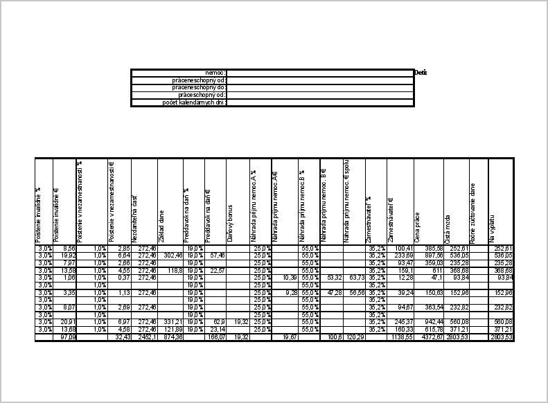 Náhľad tlače strany2 mzdového listu