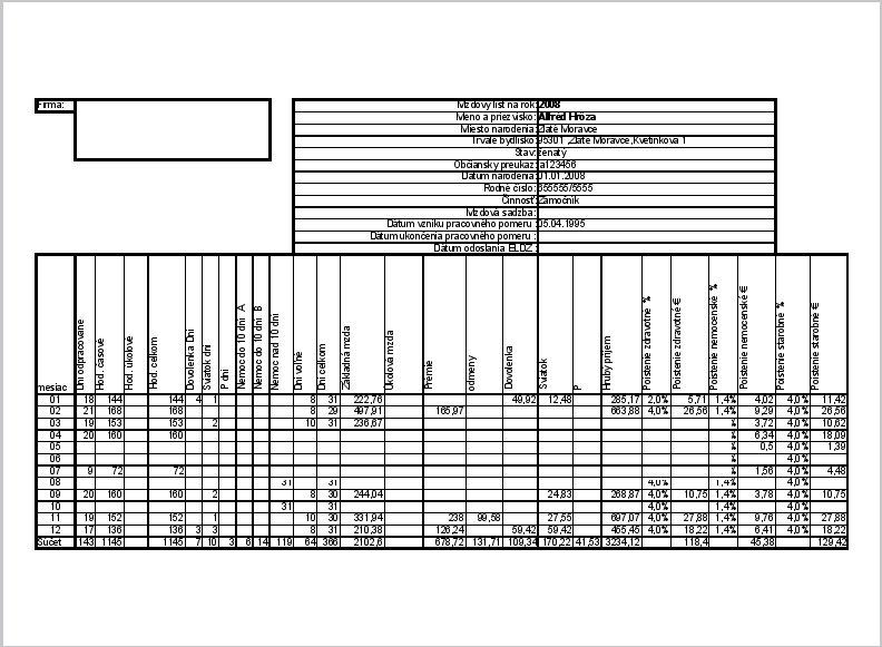 Náhľad tlače strany1 mzdového listu