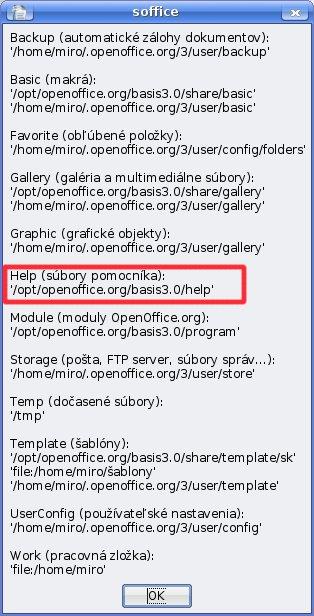 Vyhľadanie cesty k súborom pomocníka pomocou rozšírenia  JP_cesty_ooo.oxt v OS Linux (Kubuntu Linux)