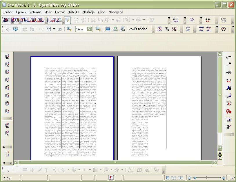 Náhľad na dokument zalomený do troch stĺpcov s čiastočnou oddeľujúcou čiarou uprostred