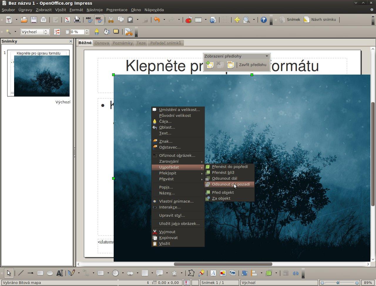 Snímek převedení obrázku na pozadí