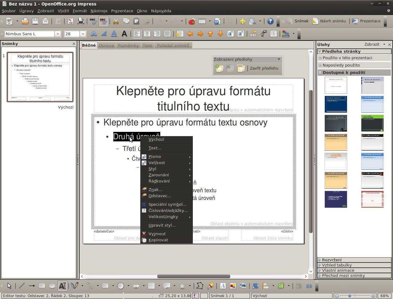 Předloha s označeným textem a nabídkou pro editaci