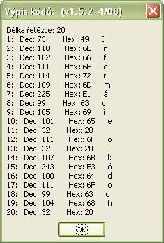 Informácie o kódoch znakov