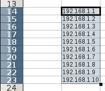 Nyní můžete snadno vytvořit číselnou řadu IP adres