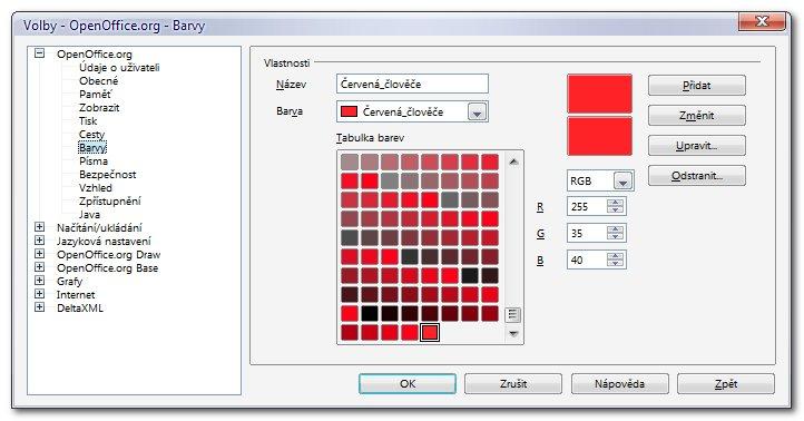 Dialogové okno Volby – Barvy slouží k pozměňování barev v paletě a přidávání i odebírání barev z ní