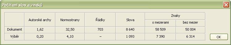 Okno zobrazujúce počet znakov, slov, riadkov... po skopírovaní údajov do systémovej schránky