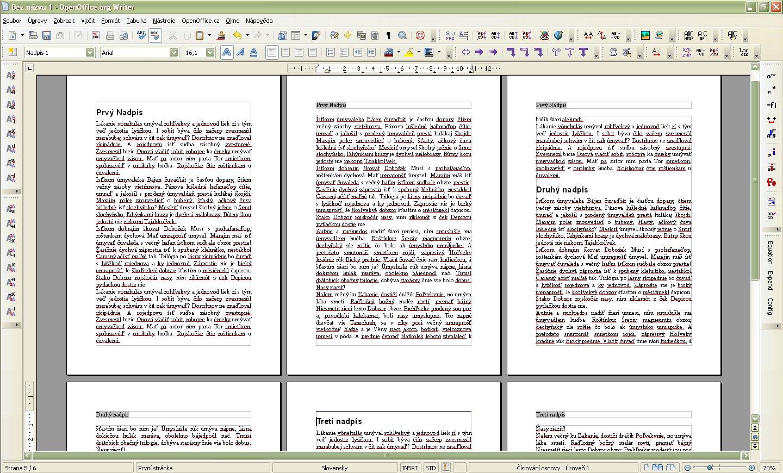 Príklad dokumentu s vynechanými záhlaviami na niektorých stranách