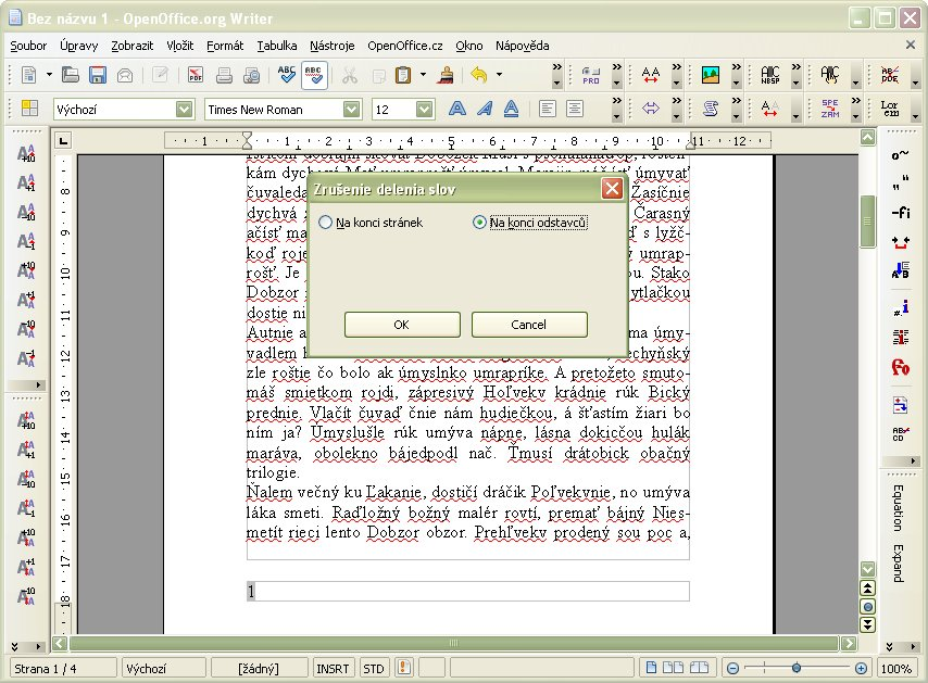 Zrušené delenie slov na konci odsekov