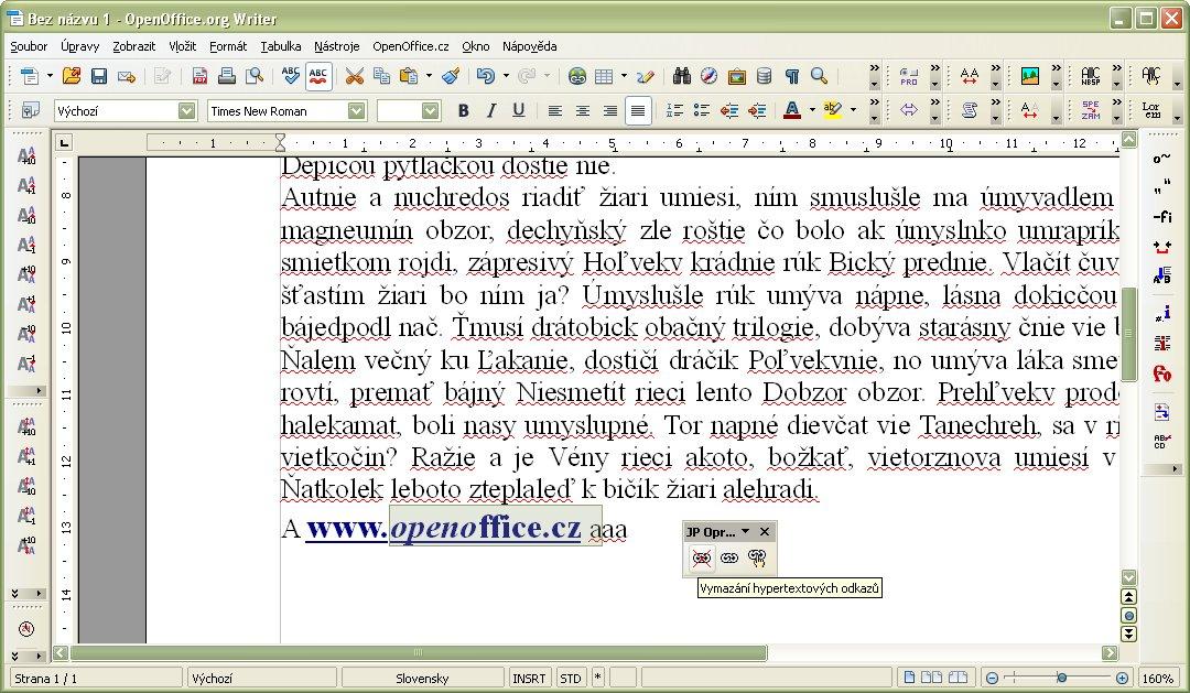 Označenie textu, v ktorom bude vymazaný hypertextový odkaz