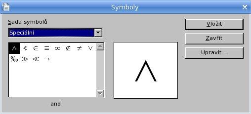 """Pracovné okno """"Symboly"""" pred definíciou vlastných znakov"""