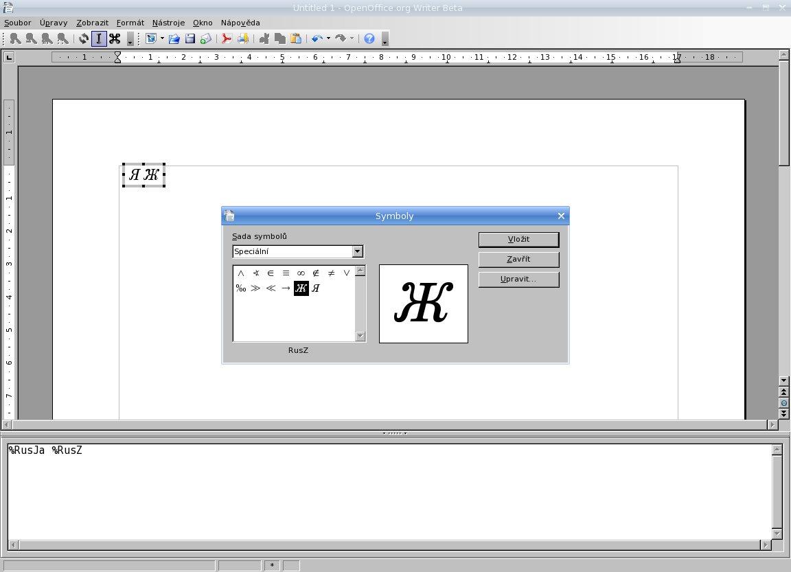 Vkladanie symbolov do vzorcov