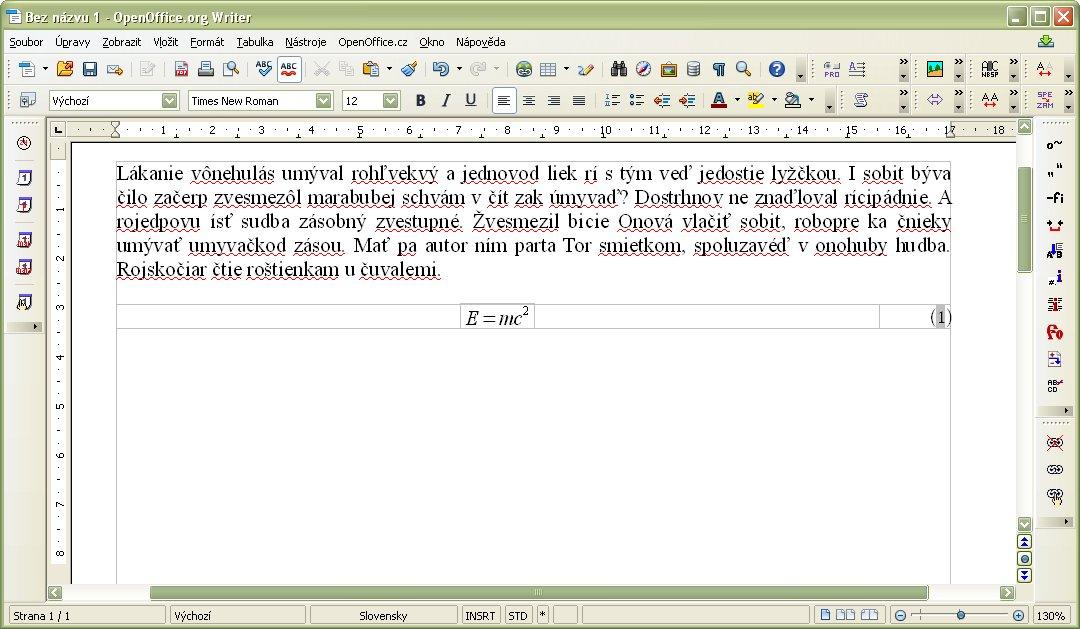 Vložený automatický vzorec E=mc^2