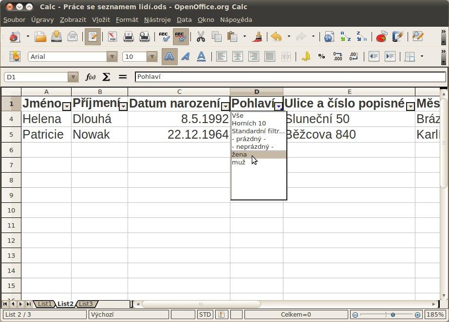 Filtrování dat