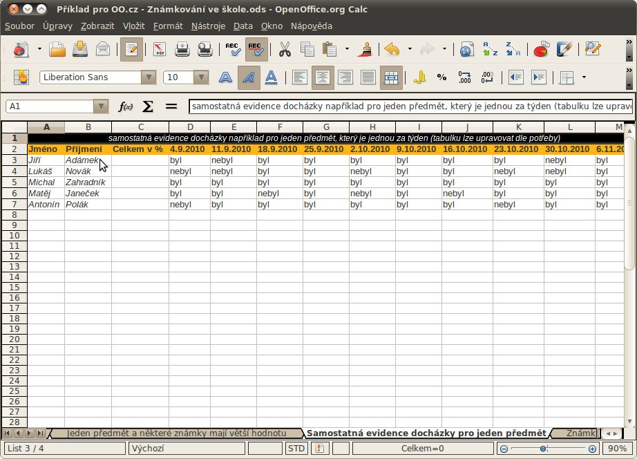 Příprava na tabulku pro evidenci docházky