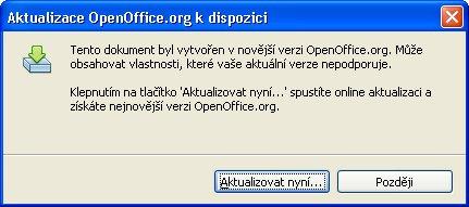 Verzia OpenOffice.org 2.4.1 si nemusí poradiť s ODF 1.2