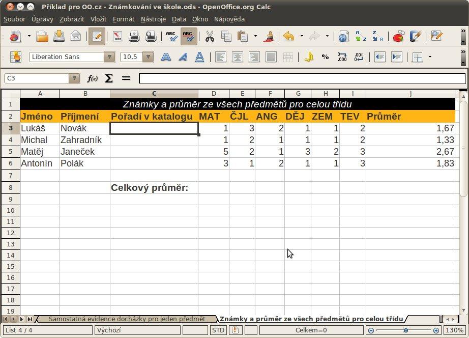 Příprava na tabulku pro celkové známkování