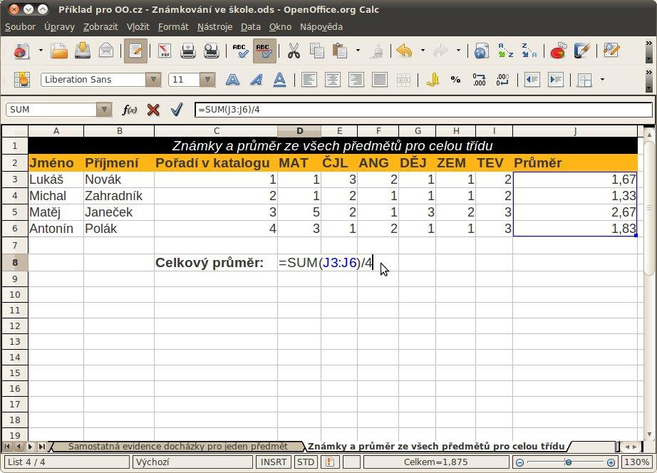 Výsledná tabulka celkového přehledu známek celé třídy