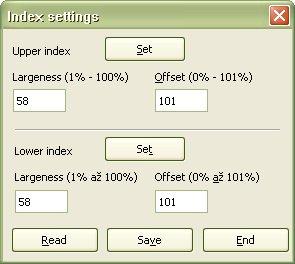 """Pracovné okno """"Nastavenie indexov"""""""