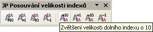 """Panel nástrojov """"JP Posúvanie veľkosti indexov"""""""